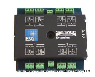 Fixed DCC decoder quad DPDT relay outputs by ESU SwitchPilot Extension