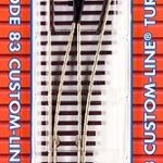 Track HO code 83 nickel silver turnout brown ties - #4 Right Hand
