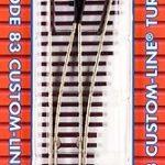 Track HO code 83 nickel silver turnout brown ties - #8 Left Hand (SO)