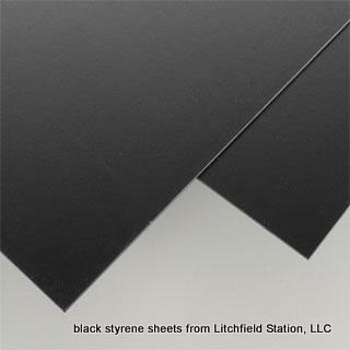 Styrene black sheets from Evergreen Scale Models - 0.03 inch thick - 2 sheets