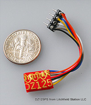 Z DCC decoder basic by Digitrax DZ123 series - NMRA 8-pin NEM 652 3 inch harness - DZ123PS