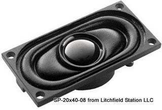 Speaker 20 x 40 mm rectangular 8 Ohms