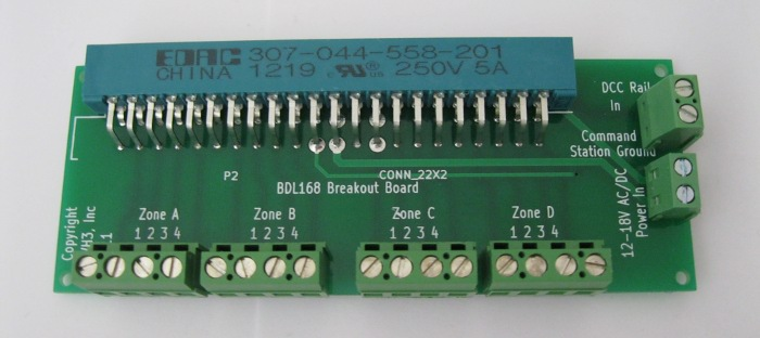 input board with screw terminals for digitrax boards – single lwh3-bdl168-s