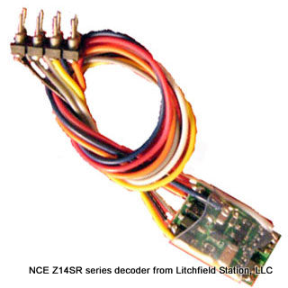 Z DCC decoder basic by NCE Z14-SR - NMRA 8-pin NEM652 3 inch harness