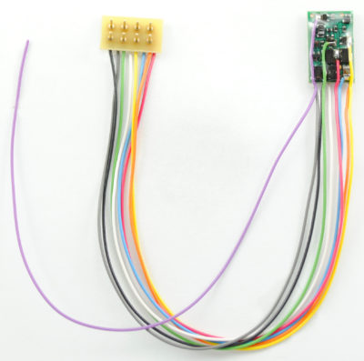 "1394 HO/N-Scale 4-Function decoder, 5"" wires to 8-pin plug"