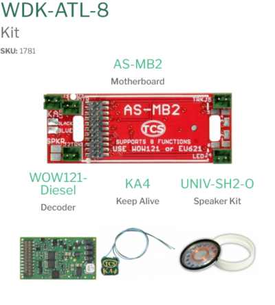 1781 WDK-ATL-8 WOWKit is a DCC sound total conversion kit - #TCS-WDK-ATL-8